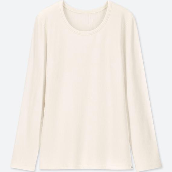 女装 超级暖 圆领长袖 白色3XL号