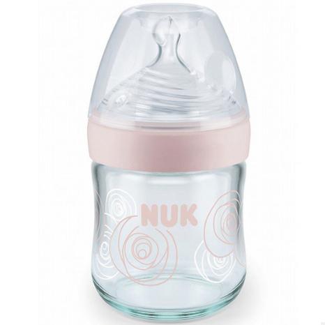 NUK自然母感宽口玻璃奶瓶120ml粉色