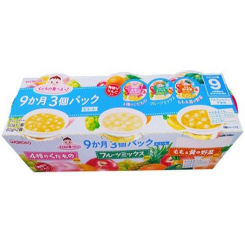 和光堂婴儿辅食3种包装(4种水果50g  什锦水果60g 桃子黄色蔬菜60g )