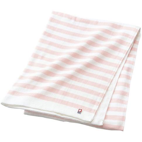 今治澡毛巾纱布无捻线长方形粉色条纹