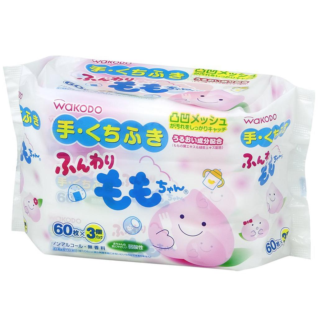 和光堂婴儿除菌湿巾手口专用桃叶精华湿巾60枚×3个