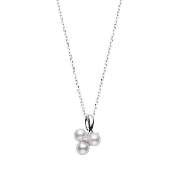 MIKIMOTO御木本18K白金花瓣设计镶钻珍珠吊坠项链