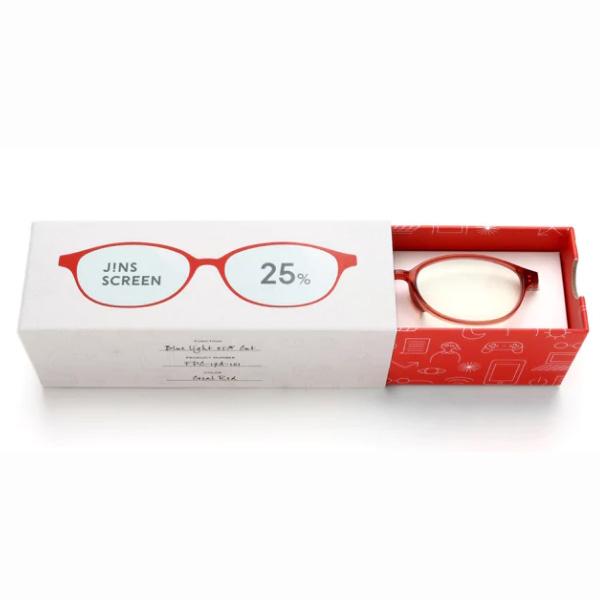 JINS 25%蓝光眼镜FPC-17A-101珊瑚红 成人用