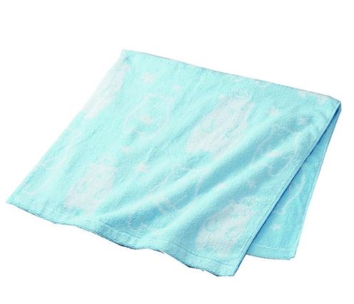 热水后毛巾柔软的材质正方形 熊图案蓝色