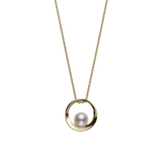 MIKIMOTO御木本AKOYA天然海水珍珠吊坠女款 18K金环形正圆项链