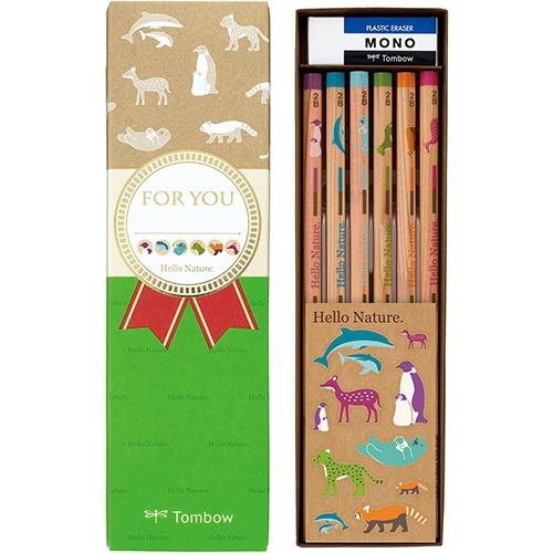 Tombow 蜻蜓铅笔Hello nature礼物用铅笔套装2B