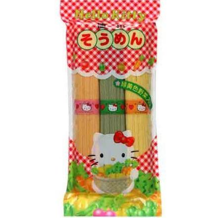 播州Hello Kitty黄绿色蔬菜 三色面条