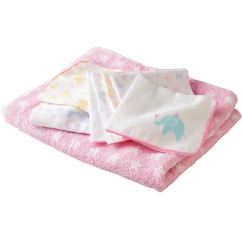 安吉特沐浴纱布8件套粉色