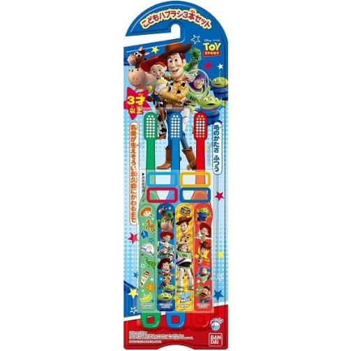 万代 儿童贴纸牙刷3支 玩具总动员图案 3岁以上