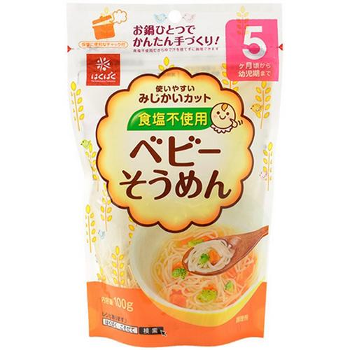 hakubaku黄金大地宝宝婴儿面条无盐小麦细面辅食100g