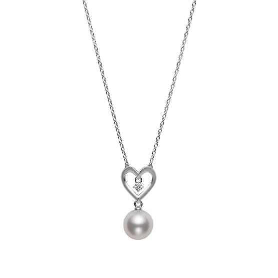 MIKIMOTO御木本18k白金钻石爱心珍珠吊坠项链