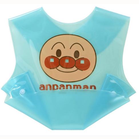 面包超人儿童吃饭围嘴围兜防水可接食物蓝色