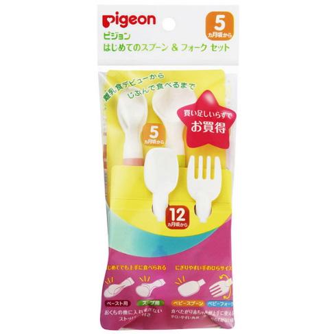 Pigeon贝亲 婴幼儿宝宝 离乳辅食用软勺叉子四件套