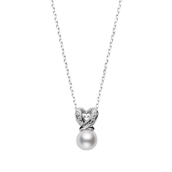 MIKIMOTO御木本白金心型镶钻珍珠吊坠项链