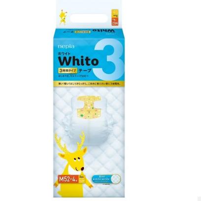 妮飘Whito纸尿裤婴儿超薄透气尿不湿M52枚 3小时纸尿裤