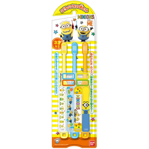 万代 儿童贴纸牙刷3支 小黄人图案 3~12岁