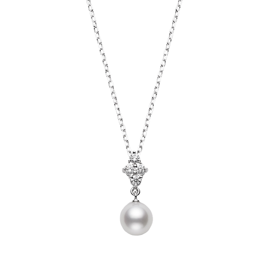 MIKIMOTO御木本18K白金钻石珍珠7.25mm 吊坠项链