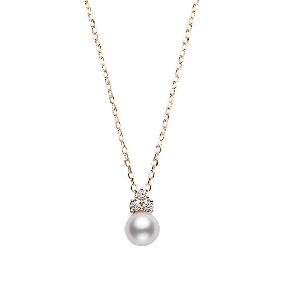 MIKIMOTO御木本18K黄金钻石珍珠6.75mm 吊坠项链